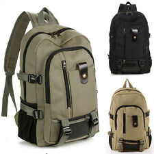 Outdoor Men's Vintage Canvas Backpack Rucksack School Satchel Hiking Bag