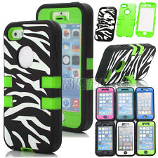 Zebra Hybrid Rugged High Impact Rubber Hard Combo Kickstand Case For iPhone 5 5S