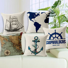 17.7inch Square Marine Nautical Art Cotton Linen Decorative Pillow Cushion Cover