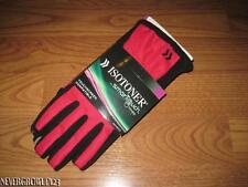 WOMENS~LADIES ISOTONER SMARTOUCH GLOVES~XS/S~M/L~XL~BLACK/DEEP AZALEA~RED~NWT