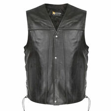 Xelement Mens Snap Button Biker Genuine Leather Motorcycle Vest (S-3XL)