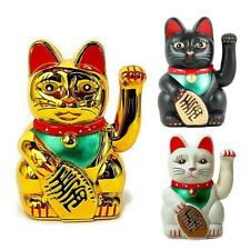 "LUCKY BECKONING CAT 5"" and 6"" Waving Kitty Maneki Neko Gold White Black Wealth"