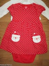 CARTERS SANTA CHRISTMAS DRESS~2 PC OUTFIT~NEWBORN~3MO~6MO~POLKA DOT~NWT