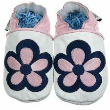 Luxury Soft Sole Leather Baby Toddler Shoes Pink Flower 0-6, 6-12, 12-18, 18-24