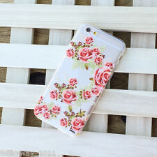H101 CLEAR TPU PLASTIC CASE COVER FOR IPHONE CALADRINA floral pink rose nature