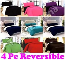 4PC Duvet Quilt Cover with Pillowcase & Fitted Sheet Reversible Complete Bed Set