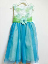 Flower Girls Rare Editions Aqua Lime Tulle Easter Spring Wedding Pageant Dress 6