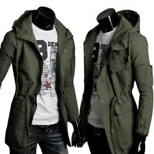 Trench Stylish Mens Long Trench Coat Slim Fit Hooded Hoodies Overcoat Outerwear