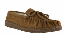 Lodgemok Mens Real Suede Brown Wool Lined Moccasins Moccs Slippers