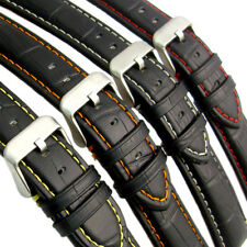 Padded Alligator Grain Leather Watch Strap Band - Coloured Contrast Stitching