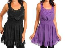 TOO CUTE BLACK OR PURPLE SMOCK WAIST RACER BACK BLOUSE PLUS 1XL 2XL 3XL