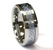 8 mm Titanium & Blue Celtic Dragon Inlay Comfort Fit Wedding Band Ring by Cohro