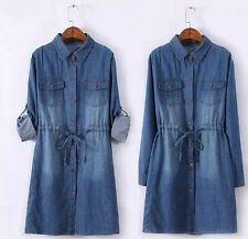 B116 New ladies women convertible sleeve waisted denim dress loose Size 16-24