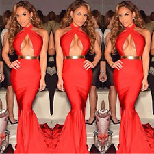 Long section of mopping significant chest backless halter sexy evening dress
