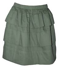 QMack Women's Cotton Blend Solid Herringbone Mini Tiered A-Line Skirt Army Green