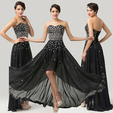 PLUS SIZE High-low Dresses BEADED Bridesmaid Evening Gowns Party Long Prom Dress