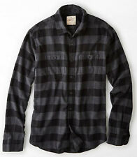 American Eagle MENS AEO Heritage Flannel Shirt  SIZE M black CLASSIC fit
