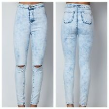 WOMENS LADIES SKINNY FIT RIPPED ACID WASH JEANS DENIM BLUE SIZE 8-14