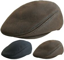 Mens Leather Look Flat Caps Country Style Designer Hat Peaked Cap Brown or Black