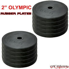 "2"" Rubber Olympic Disc Weights Plates Powerlifting Weightlifting Bar Gym"