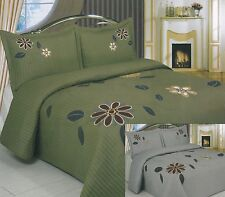 3piece Modern Green Grey Traditional Floral Embroidery Bedspread Set, King Queen