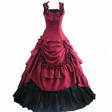 red victorian period dress gothic lolita gowns halloween costumes for women