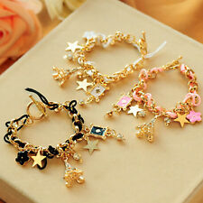 Fashion Jewelry Stars Eiffel Tower Design Gold Filled Chain Rope Bracelet Women