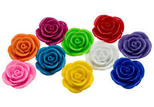 FLOWER ROSE ACRYLIC 35MM PENDANT BEADS CHUNKY COLORS NECKLACES DIY CRAFTS