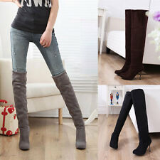 New Women Sexy Suede Splicing Slip On Long Knee Party Stiletto High Heel Shoes