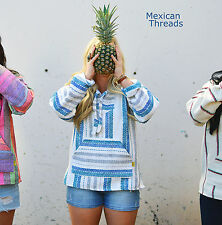 Baja Hoodie Drug Rug Jacket Pullover Poncho Mexican Threads S-XL White/Blue/Grey