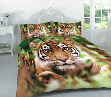 LUXURY 3D DESIGN TIGER DUVET COVER SET WITH PILLOWCASE  SINGLE, DOUBLE, KING