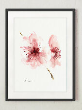 Cherry blossom watercolor art print painting, flowers ideas for gift