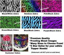 ZEBRA PRINTS Edible Cake Topper Image Frosting Sheet-ALL COLORS AND SIZES!!  NEW