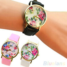 Women's Graceful Geneva Faux Leather Band Rose Flower Dress Quartz Wrist Watch