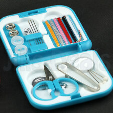 21 PCS SEWING KIT TRAVEL EMERGENCY THREAD NEEDLES SAFETY PINS BUTTONS TOOL BOX
