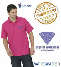 Uneek UC101 Personalised FRONT & BACK Embroidered Polo Shirts, Workwear