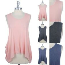 Solid Sleeve Drop Arm-Hole Draped Tank Top Round Neck Comfort Poly Rayon S M L