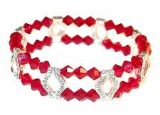SIAM RED Crystal Bracelet 2-Strand Silver Stretch Swarovski Elements