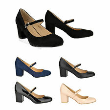 New womens ladies mid block heel Mary-Jane style evening office work shoes size