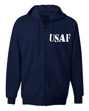 American Law Enforcement Military Stencil USAF TEXT Zipper Hoodie Jacket