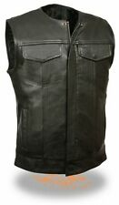 MEN'S MOTORCYCLE SON OF ANARCHY LEATHER VEST 2 GUN POCKETS INSIDE COLLAR LESS