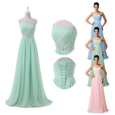 Empire Waist Long Chiffon Bridesmaid Formal Gown Ball Party Evening Prom Dresses