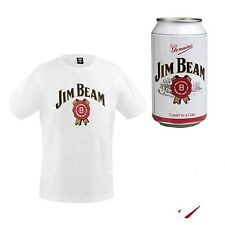 NEW MENS JIM BEAM MENS WHITE COTTON TEE t-SHIRT TOP SIZE L - IN JIM BEAM CAN !