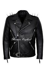 'GHOST RIDER' Men's Black METAL SPIKES Motorcycle Cowhide Leather Jacket