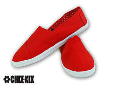 Womens Red Canvas Shoes Slip Ons Casual Sneakers Kicks Footwear Tennis Flats New