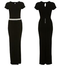 Miss Selfridge Black Pearl Waist with Overlay Top Maxi Dress RRP £55 Size 6 -16