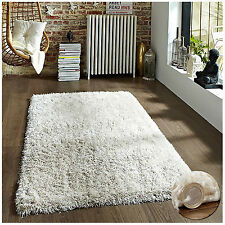 THICK PLAIN SOFT CREAM IVORY SHAGGY RUGS MODERN HIGH PILE HOME KITCHEN RUNNER