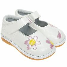 Girls Toddler Childrens Kids Faux Leather Squeaky Shoes Patent White - Wide Fit