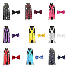 Men's Polka Dot Suspenders/Braces with Matching Bow Tie - 9 Colours