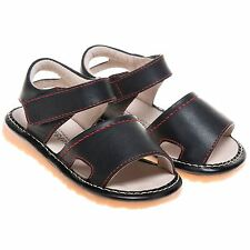Little Blue Lamb Boys Girls Toddler Leather Open Toe Squeaky Sandals Shoes Black